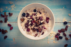 Oatmeal with dried fruit. Royalty Free Stock Photos