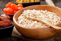 Oatmeal and dried fruits Stock Photography