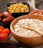 Oatmeal and dried fruits Stock Photos