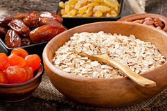 Oatmeal and dried fruits Royalty Free Stock Image