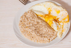 Oatmeal with egg Stock Photo