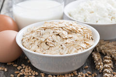 Oatmeal, eggs, cottage cheese and milk, close-up Stock Photo