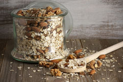 Oatmeal flakes with nuts Royalty Free Stock Photo