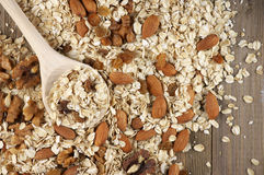 Oatmeal flakes with nuts Stock Photos