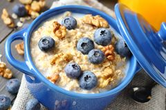 Oatmeal with fresh blueberries   Royalty Free Stock Photo
