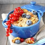 Oatmeal with fresh blueberries Stock Photo