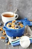 Oatmeal with fresh blueberries Stock Image