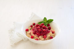 Oatmeal with fresh cranberries and honey  Royalty Free Stock Photo