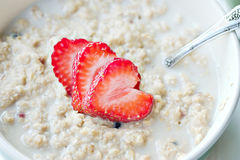 Oatmeal with fruit stock images