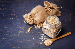 Oatmeal in a glass jar Stock Photography
