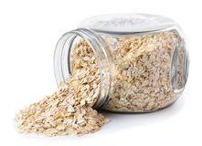 Oatmeal in glass transparent jar Stock Photography