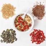 Oatmeal goji berries, linseed, Muesli Healthy superfoods Royalty Free Stock Images
