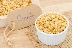 Oatmeal granola in white cup. Royalty Free Stock Photos