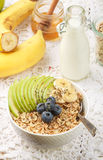 Oatmeal with green Apple, banana, blueberries, honey and Chia seeds Royalty Free Stock Image