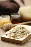 Oatmeal and honey Stock Photo
