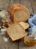 Oatmeal and honey bread Stock Images
