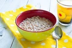 Oatmeal i filiżanka herbata Zdjęcia Royalty Free