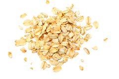 Oatmeal isolated on white background. top view royalty free stock images