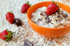 Oatmeal with milk and berries Royalty Free Stock Photos