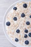 Oatmeal with milk and blueberries closeup top view vertical Stock Photos