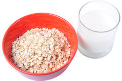 Oatmeal and Milk Breakfast Stock Photography