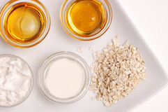 Oatmeal, Milk and Honey. Spa ingredients Royalty Free Stock Images
