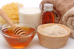 Oatmeal, milk and honey spa Royalty Free Stock Image