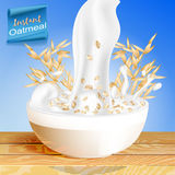 Oatmeal with milk, pouring the Cup and elements of the oats, with spikelets of cereals. Royalty Free Stock Photography
