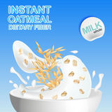 Oatmeal with milk, pouring the Cup and elements of the oats, with spikelets of cereals. Stock Image