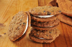 Oatmeal molasses sandwich cookies Stock Photography