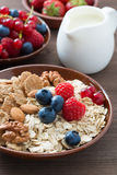 Oatmeal and muesli in a bowl, fresh berries and milk. On wooden background, close-up, vertical Royalty Free Stock Photos