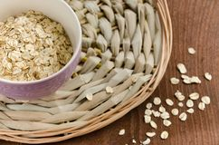 oatmeal Muesli, grains Beau fond Farine d'avoine crue guérissez image libre de droits