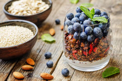 Oatmeal nuts quinoa granola with blueberries Stock Image