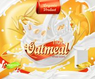 Oatmeal. Oat grains and milk splashes. 3d vector. Oatmeal. Oat grains and milk splashes. 3d realistic vector, package design Royalty Free Stock Photo
