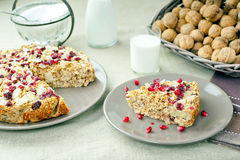 Oatmeal pastry and milk Royalty Free Stock Photos