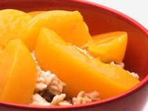 Oatmeal and Peaches. A very close view of an isolated bowl of oatmeal with sliced peaches stock photography
