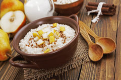Oatmeal with pear and cinnamon Royalty Free Stock Photo