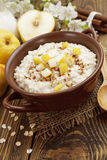 Oatmeal with pear and cinnamon Royalty Free Stock Images