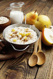 Oatmeal with pear and cinnamon Stock Photo