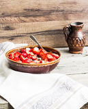 Oatmeal with poppy seeds, raisins and berries, healthy breakfast Stock Photography