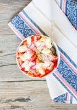 Oatmeal with poppy seeds, raisins, strawberries and banana Royalty Free Stock Photos