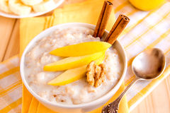 Oatmeal porridge with apple, nuts and cinnamon Stock Images