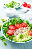 Oatmeal porridge with avocado and vegetable salad of fresh tomatoes and lettuce. Healthy dietary breakfast. Closeup stock photo