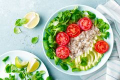 Oatmeal porridge with avocado and vegetable salad of fresh tomatoes and lettuce. Healthy dietary breakfast. Closeup royalty free stock images