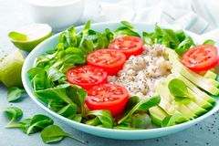 Oatmeal porridge with avocado and vegetable salad of fresh tomatoes and lettuce. Healthy dietary breakfast. Closeup royalty free stock photos