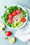 Oatmeal porridge with avocado and vegetable salad of fresh tomatoes and lettuce. Healthy dietary breakfast. Top view royalty free stock photos