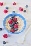 Oatmeal porridge with berries stock photography