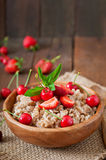 Oatmeal porridge with berries Royalty Free Stock Image
