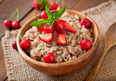 Oatmeal porridge with berries Royalty Free Stock Photo