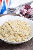 Oatmeal porridge with blackberry Stock Photo